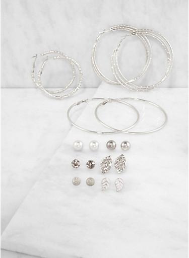 Set of 9 Metallic Hoop and Stud Earrings,SILVER,large