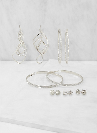 Set of 6 Assorted Metallic Earrings,SILVER,large