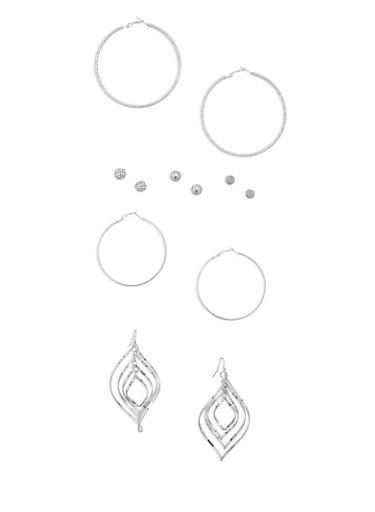 6 Assorted Hoop and Stud Earrings Set,SILVER,large