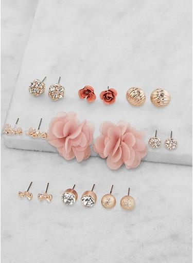 Set of 9 Rhinestone Stud Earrings,ROSE,large