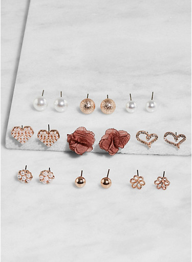Set of 9 Assorted Stud Earrings,ROSE,large