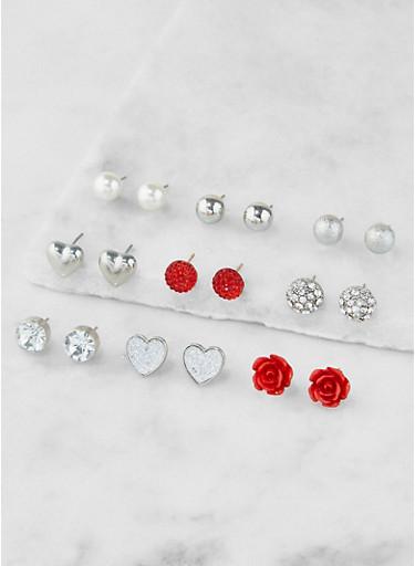 Assorted Metallic Stud Earrings Set,SILVER,large