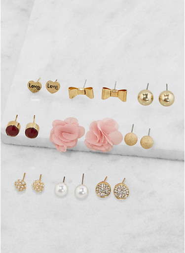 Set of 9 Assorted Stud Earrings,PINK,large