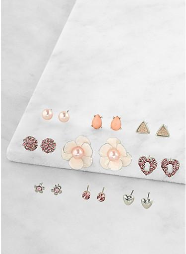Faux Pearl Flower Stud Earrings Set,SILVER,large