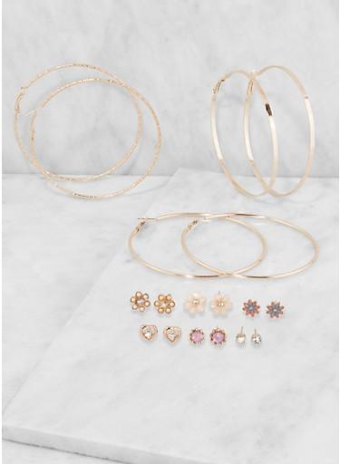Metallic Hoop and Stud Earrings Set,ROSE,large