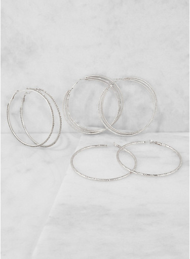 Rhinestone Metallic Hoop Earrings Trio,SILVER,large