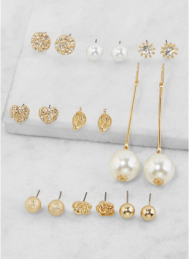 Set of 9 Assorted Earrings,GOLD,large