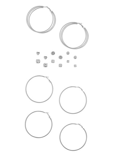 Assorted 9 Piece Hoop and Stud Earrings Set,SILVER,large