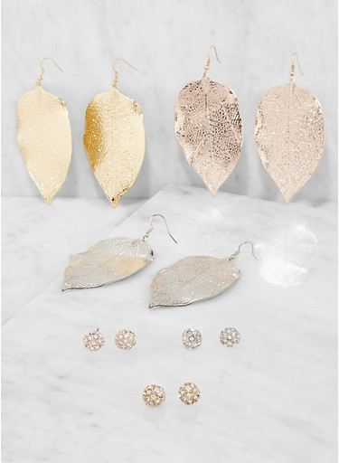Set of 6 Leaf Drop and Stud Earrings,TRITONE (SLVR/GLD/HEMAT),large