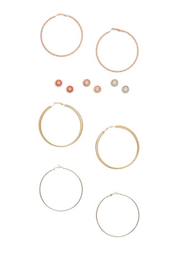 Set of 6 Stud and Twisted Hoop Earrings,TRITONE (SLVR/GLD/HEMAT),large