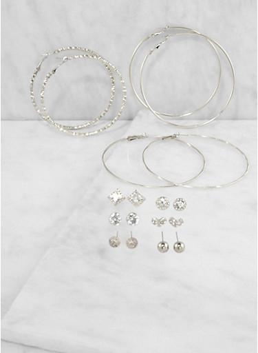 Assorted Set of Stud and Hoop Earrings,SILVER,large