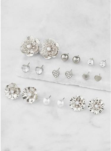 Set of 9 Metallic Stud Earrings,SILVER,large