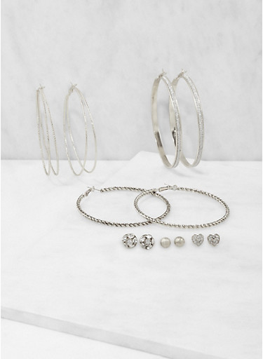 Set of Assorted Stud and Large Hoop Earrings,SILVER,large