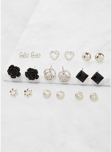 Assorted Flower Stud Earrings Set,SILVER,large