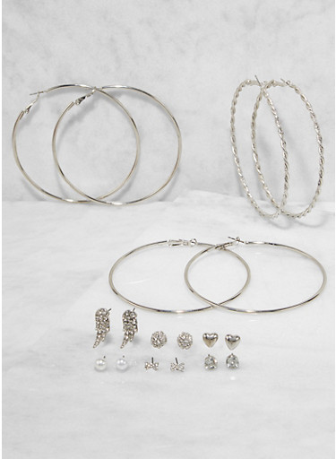 Rhinestone Studs and Hoop Earrings Set,SILVER,large