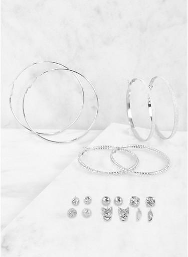 Set of Assorted Rhinestone Stud and Hoop Earrings,SILVER,large