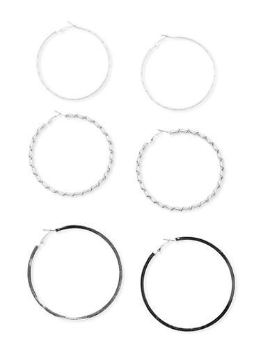 Set of 3 Large Hoop Earrings,SILVER,large
