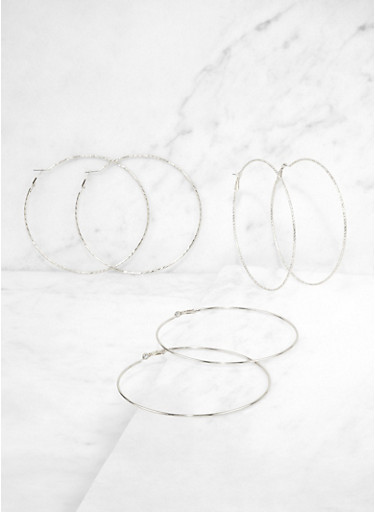 Large Textured Hoop Earring Trio,SILVER,large