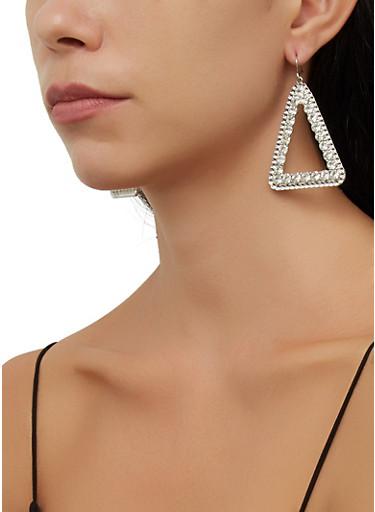 Rhinestone Metallic Triangular Earrings,SILVER,large