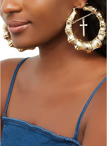 Cross Charm Bamboo Hoop Earrings,GOLD,large