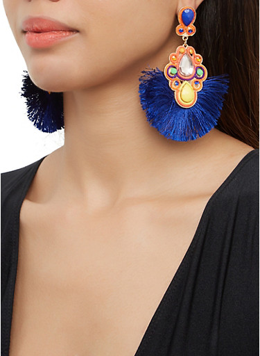 Fringe Jeweled Drop Earrings,MULTI COLOR,large