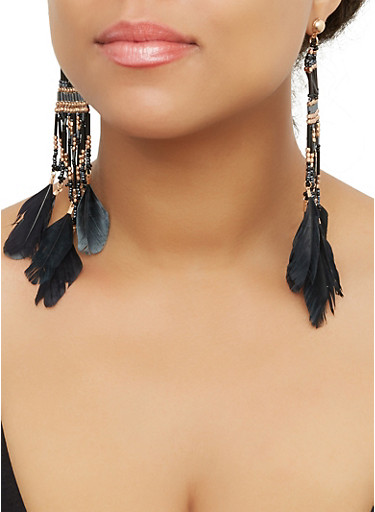 Beaded Feather Drop Earrings,BLACK,large