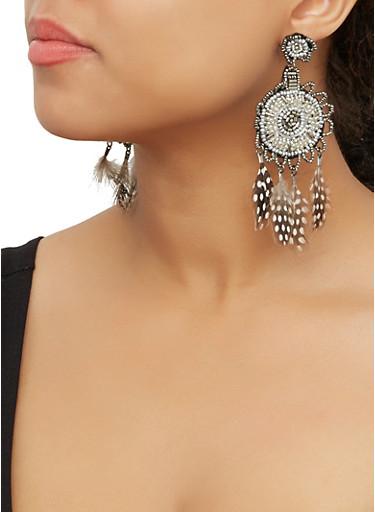 Beaded Feather Fringe Drop Earrings,GRAY,large