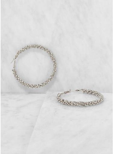 Rhinestone Encrusted Hoop Earrings,SILVER,large