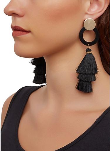 Neon Three Tier Tassel Earrings,BLACK,large