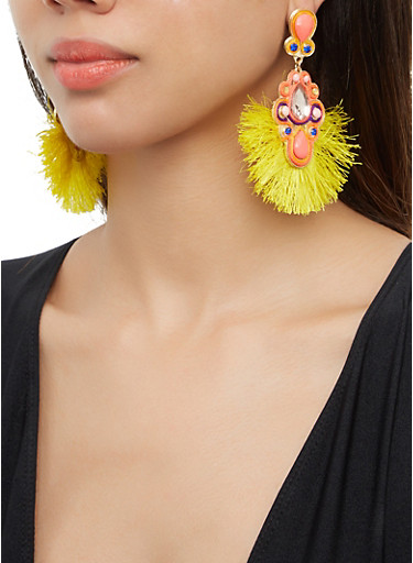 Jeweled Fringe Drop Earrings,MULTI COLOR,large