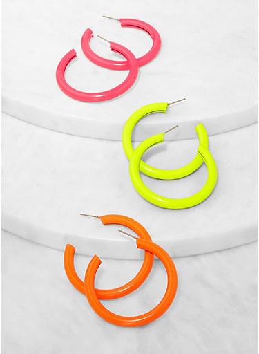 Neon Tube Hoop Earring Trio,MULTI COLOR,large