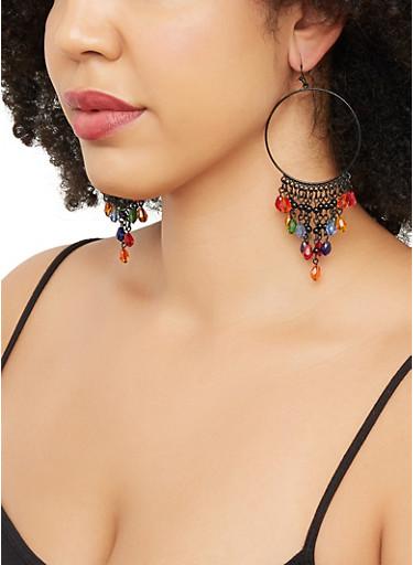 Beaded Fringe Hoop Drop Earrings,BLACK,large
