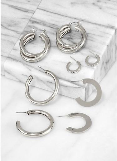 Tubular Metallic Hoop Earring Set,SILVER,large