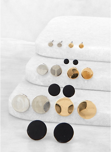 Assorted Disc Stud Earrings,GOLD,large