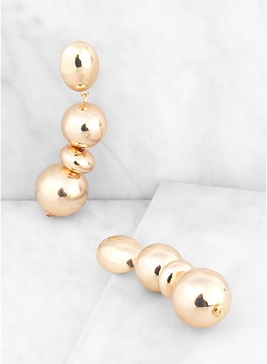 Chunky Metallic Beaded Drop Earrings,GOLD,large
