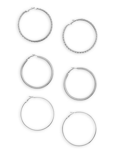 Trio Wide Hoop Earring Set,SILVER,large