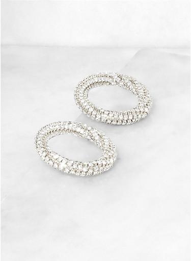 Rhinestone Circle Earrings | 3135062921754,SILVER,large