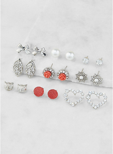 Assorted Rhinestone Stud Earrings Set,SILVER,large