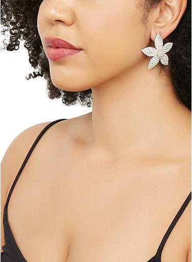 Rhinestone Flower Earrings,SILVER,large