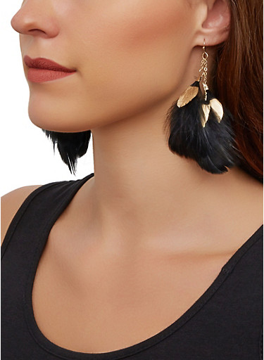 Layered Feather Drop Earrings,BLACK,large