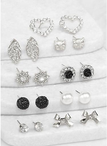 Set of 9 Assorted Rhinestone Leaf Stud Earrings,BLACK,large