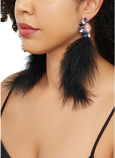 Jeweled Feather Drop Earrings,BLACK,large