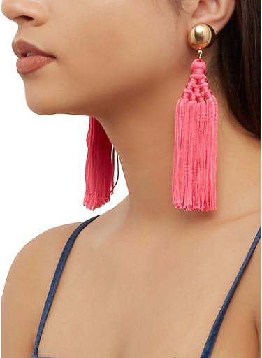Multi Tassel Earrings,NEON PINK,large