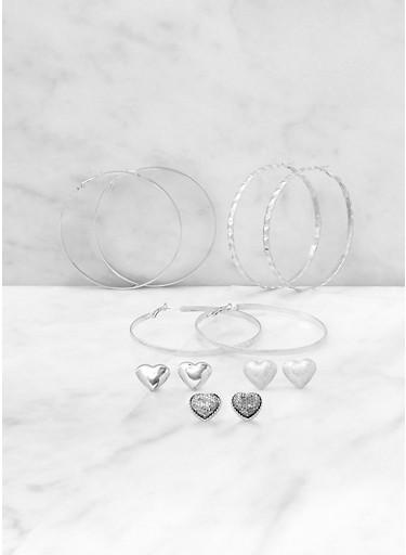 Heart Stud and Hoop Earrings Set,SILVER,large