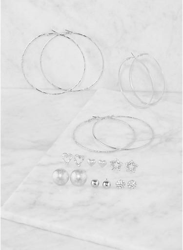 Set of 9 Assorted Hoop and Stud Earrings,SILVER,large