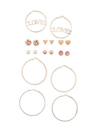 9 Piece Assorted Love Hoop and Stud Earrings Set,ROSE,large