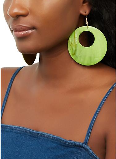 Open Disc Shell Earrings,LIME,large