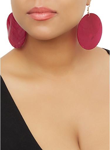 Disc Shell Earrings,FUCHSIA,large