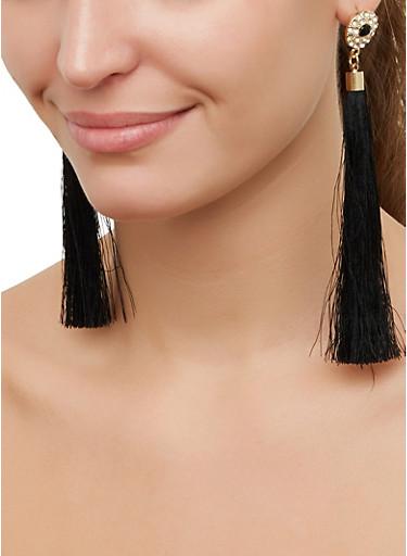 Rhinestone Studded Tassel Earrings,BLACK,large