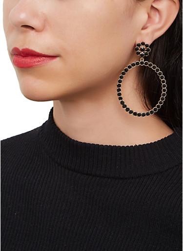 Rhinestone Circle Drop Earrings,BLACK,large